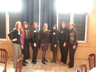 A little fuzzy but our officeholders at the event (from L to R): Michelle Bidwell (Social Media Chair); Robin Ross (Vice President); Emily VanNelson (Secretary); Michelle Gebhardt (President); Annmarie Belmonte (Membership Chair); Denise Styer (Education Chair); Judy LeFevour (Hospitality Chair)